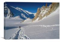 Alpine glacier walking on the Col du Midi glacier, Canvas Print
