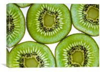 Green  kiwi fruit slices, Canvas Print