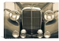 Alvis Vintage sports car grill and headlights, Canvas Print