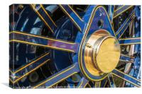 Blue and brass steam traction engine wheel, Canvas Print