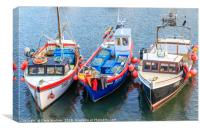 Fishing boats moored in Mevagissey harbour in Corn, Canvas Print