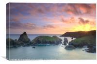 Kynance Cove Cornwall sunset, Canvas Print