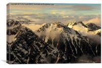 Afternoon winter light, Joseph Mountains, Tekapo, Canvas Print