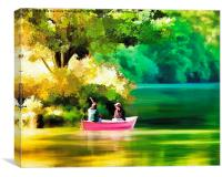 Boating On The Lake Watercolour Painting, Canvas Print