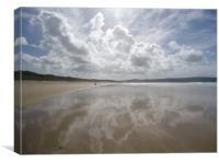 Reflections Hayle Towans Cornwall, Canvas Print