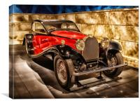 Vintage Bugatti Red Classic Motor Car 1932, Canvas Print