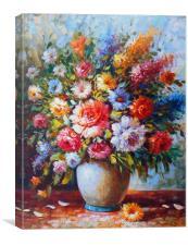 Still Life Colourful Flowers , Canvas Print