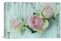 Vintage Charming Shabby Chic Pink Roses On Blue Wo, Canvas Print