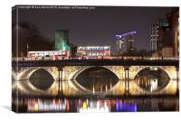 Bristol Bridge at Night., Canvas Print