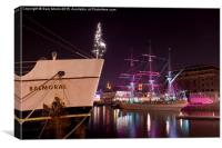 Bristol Harbourside Ships at Night, Canvas Print
