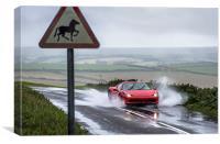 Ferrari 458 Spider driving through a puddle, Canvas Print