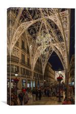 Christmas Lights In Malaga., Canvas Print