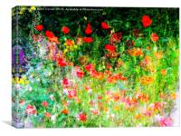A splash of colour. The English Cottage Garden, Canvas Print