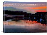 Sunset Hayle Harbour Cornwall , Canvas Print