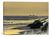 Godrevy Golden Glow  (digital), Canvas Print