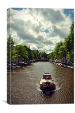 Boat over the canal, Amsterdam, Canvas Print
