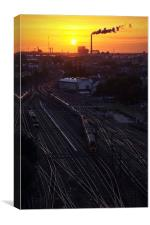 Amsterdam tracks in the sunset, Canvas Print