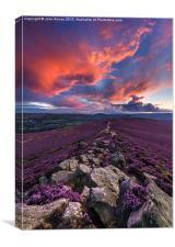 Winhill purple and orange sunset, Peak District, E, Canvas Print