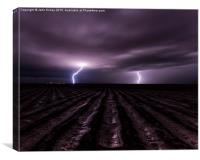 Thunderstruck, twin lighning bolts in Texas, USA., Canvas Print