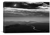 Moon shadow. Solar eclipse over Derbyshire, Englan, Canvas Print