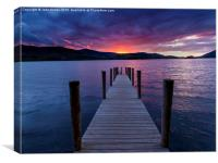 Jetty sunset, Derwent water, English Lake District, Canvas Print