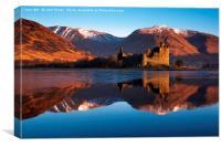 Kilchurn Castle, red sunrise, Loch Awe, Scotland., Canvas Print