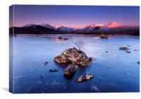 Lochna na Stainge frozen Loch, Canvas Print