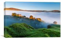 Peveril Castle dawn , Canvas Print