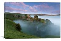 Peveril Castle Autumn Dawn.  , Canvas Print