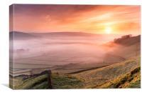 Sunrise over Castletons Peveril Castle.  , Canvas Print