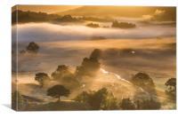 Little Langdale misty sunrise , Canvas Print