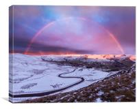 Snowbow over Edale valley, Canvas Print