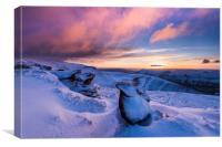 Winter sunrise over Ringing Roger rocks, Kinda Sco, Canvas Print