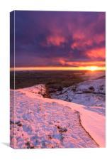 Sunrise over a winter wonderland, Derbyshire, UK , Canvas Print