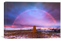 Winter rainbow over Mam Tor summit, Derbyshire, Canvas Print