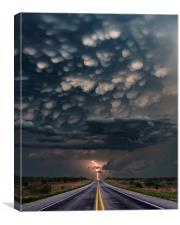 Mammatus Lightning bolt, Texas. , Canvas Print