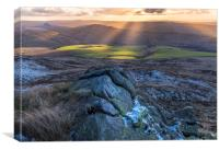 Kinder Scout, Gritstone sunset, Canvas Print