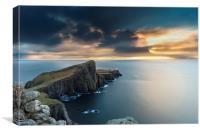 Neist Point Lighthouse, long exposure sunset, Canvas Print