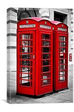 Telephone boxes in London, Canvas Print