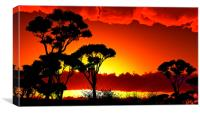 Sunset over lake region, Canvas Print