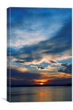 Sunset over lake, Canvas Print