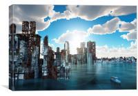 Flooded city, Canvas Print