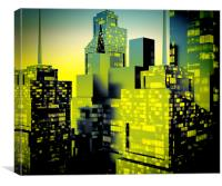 Business District at Night, Canvas Print