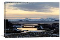 Winter sunset over Þingvellir , Canvas Print