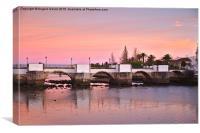 Antique bridge of Tavira during twilight , Canvas Print