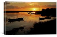 Boats silhouettes at sunset , Canvas Print