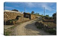 curvy road in a countryside village of Algarve , Canvas Print