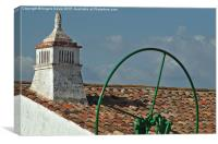 Old chimney and water pump. Algarve Portugal , Canvas Print