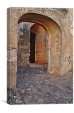 Arches of a medieval castle entrance in Algarve , Canvas Print