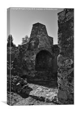 Old furnace in a medieval castle , Canvas Print